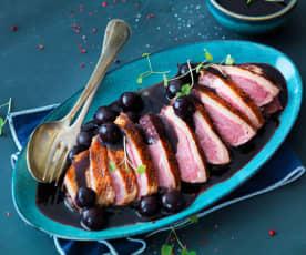Magret de canard, sauce aigre-douce à la cerise (cuisson sous-vide)