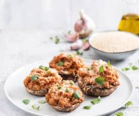 Pieczarki portobello faszerowane komosą ryżową i mielonym indykiem