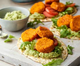 Sweet Potato and Butter Bean Falafel Flatbreads with Broad Bean Houmous