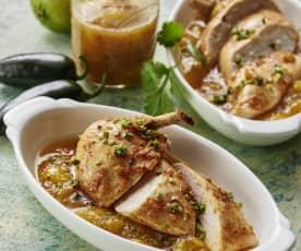 Suprêmes de poulet au miel et citron vert, chutney à la mangue