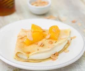 Crêpes rellenos de requesón con naranja y romero (Sin azúcar)