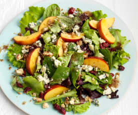Nectarine, Stilton and Walnut Salad with a Raspberry Vinaigrette