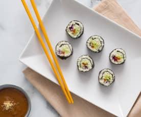 Rainbow cauliflower sushi