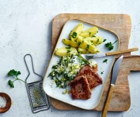 Kalbsplätzli mit Zitronenlauch und Petersilienkartoffeln