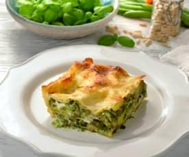 Pesto-Lasagne mit Kartoffeln und grünen Bohnen