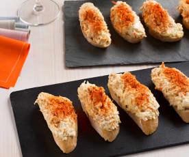 Tosta de cangrejo y atún