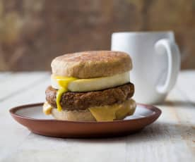 """Egg and sausage"" breakfast sandwich"