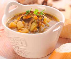 Sopa de batata e cogumelos secos