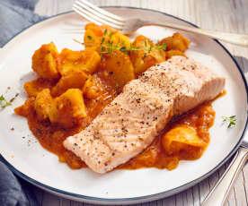 Lachs mit Paprika-Kartoffel-Gemüse