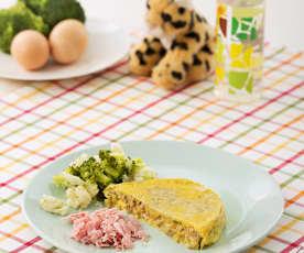 Tortilla de champiñones al vapor con verduritas y jamón de York