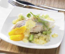 Fisch mit Fenchelgemüse an Orangensauce