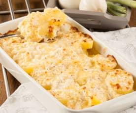 Patatas gratinadas con crema de queso