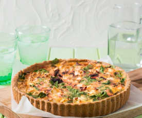 Beetroot, feta and spinach quiche