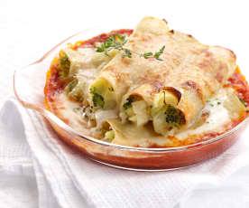 Überbackene Cannelloni mit grüner Gemüsefüllung