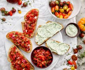 Bruschettas de tomate e ricota