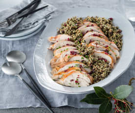 Turkey buffe and herby quinoa stuffing