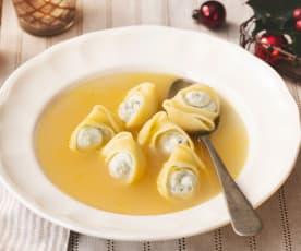 Sopa de navidad con galets rellenos