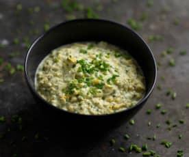 Húmus de milho e requeijão com ervas