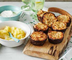 Gegrillte Knödel-Muffins mit Ananas