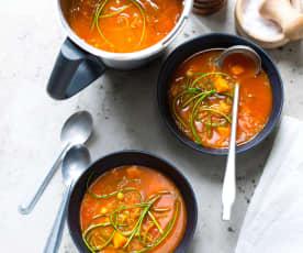 Soupe de tomates et courgettes