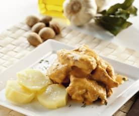 Conejo con salsa de almendras y patatas al vapor