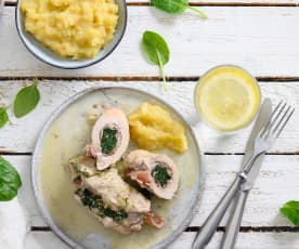 Roulés de porc aux épinards, sauce marsala