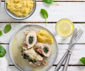 Schnitzelröllchen mit Spinat