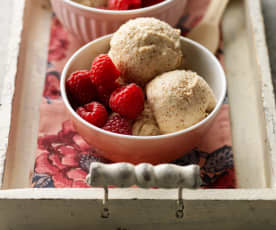 Brown Bread Ice Cream with Raspberries