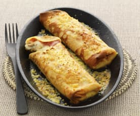 Ham, Mushroom and Cheese Crêpes