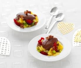 Emulsion de chocolat aux épices et fruits frais