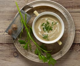 Potato and porcini mushroom soup
