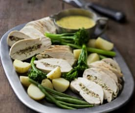 Cranberry and Camembert Stuffed Chicken with Mustard Sauce