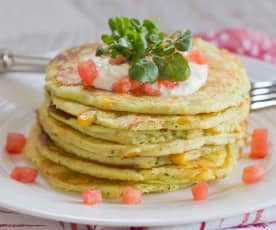 Zucchini, corn and ricotta pancakes