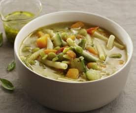 Gemüse-Nudel-Suppe mit Pistou