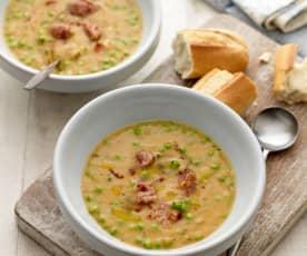 Double Pea and Chorizo Soup