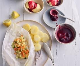 Rombo e verdure al cartoccio; salsa ai frutti rossi e gelato