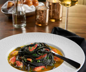 Squid Ink Pappardelle with Lobster and Saffron Broth