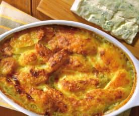Zapečené brambory s gorgonzolovou omáčkou