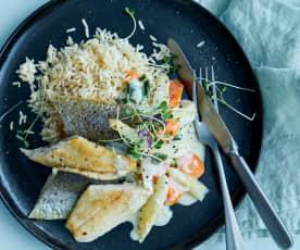 Forellen mit Spargel-Rahmgemüse und Reis