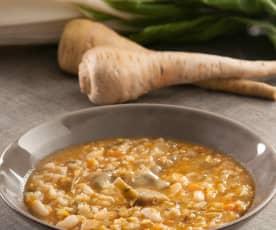 Olleta de habichuelas con arroz y pencas