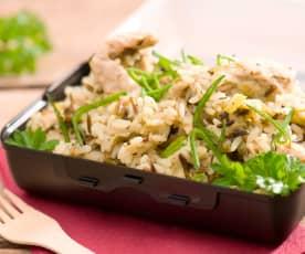 Pilaf de arroz con pavo y puerro