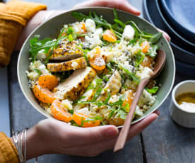 Salade de poulet, boulgour et clémentines