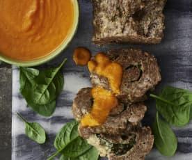 Polpettone di carne ripieno di spinaci e formaggio