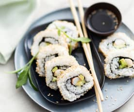 California rolls aux langoustines et mayonnaise à la mangue