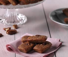 Financieros de chocolate con leche y nueces pacanas