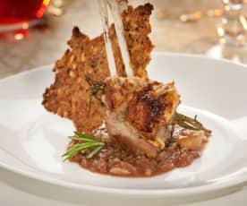 Costillas de cordero asadas con salsa de castañas y oporto