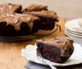 Chocolate bean cake with coconut butter cream frosting