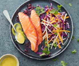 Saumon mariné poivre et sel à la betterave
