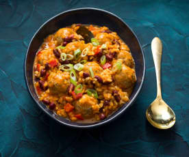 Red beans and rice with turkey meatballs
