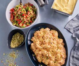 Menü: Gnocchi in Tomaten-Mascarpone-Sauce, Brokkolisalat und Fruchtsorbet